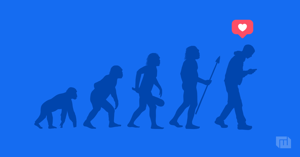 Image of a gorilla evolving into a human with a Facebook like image at top right